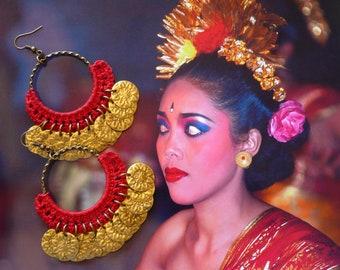 Créoles ethniques en crochet, sequins vintages, anneaux bohème, style hippie chic, bijoux textile, Fujigirls