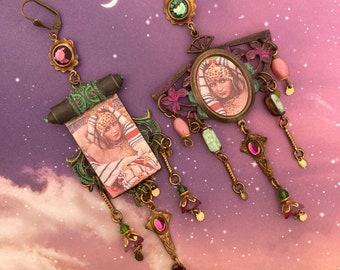 Boucles d'oreilles persanes asymétriques, bijoux arabesques asymétriques, pendentifs fait-main, style bohème, hippie chic, ethnique, ooak