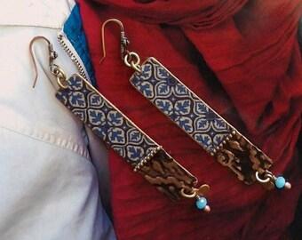 Boucles d'Oreilles en Cuivre de Style Oriental, Bijoux Ethniques fait-main, Métal Embossé, Motifs Arabesque, Maroc, Fujigirls