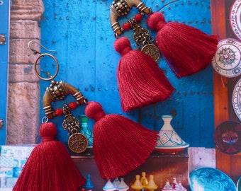 Boucles d'Oreilles Tribales Orientales XL, Bijoux Ethniques de Style Marocain, Style Hippie Chic, Nomade, Pompon, Maroc, Fujigirls