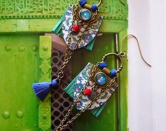 Boucles d'oreilles ethniques originales, bijoux bohèmes gipsy colorés, style tribal oriental, Fujigirls