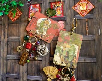 Boucles d'oreilles ethniques Japonaises, look vintage, style tribal Asiatique, Japonisant, zen, asymétrique, Bijoux Fujigirls