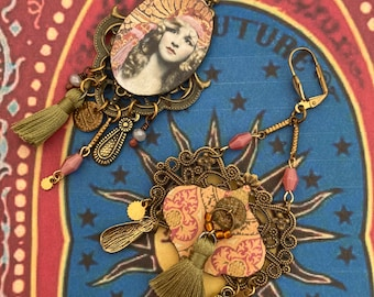 Boucles d'oreille bohème Gipsy - Boucles d'Oreille Gitane Asymétrique - Boucles d'Oreille Hippie Chic - Style Manouche - Tsigane - Fujigirls