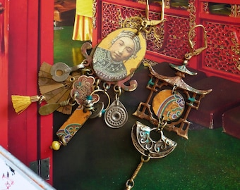 Boucles d'oreilles nomades Mongols, Bijoux ethniques asiatique, Look rustique, Vintage, Mongolie, Temple, Fujigirls