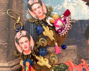 Frida Kahlo Longues boucles d'oreilles bohèmes mexicaines, bijoux colorés uniques folkloriques, jour des morts, crâne, art Mexicain