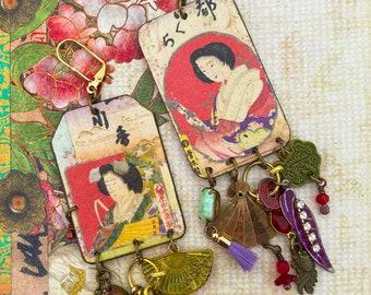 Boucles d'oreilles ethniques femmes Japonaises, bijoux vintages de style Nippon, images anciennes, tribal Asiatique, Japonisant, geisha