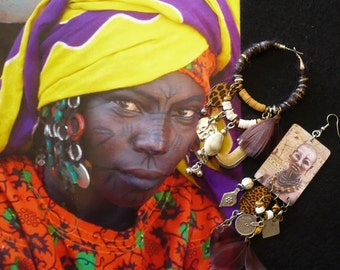 Boucles d'oreilles Africaine oversize tendance, Bijoux ethniques eclectiques Africain, Créoles asymétrique, Afro Bohème, Nomade, Fujigirls