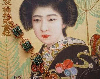 Bracelet en Cuivre et perles Miyuki verte, Bracelet Bohème Romantique, Pendentifs fait-main, Feminin, Japonisant, Fujigirls