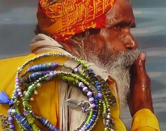 Collier nomade hippie boho - gypsy - boho beach - collier multi-rangs - collier tribal hippie chic - collier ethnique art textile - kuchi