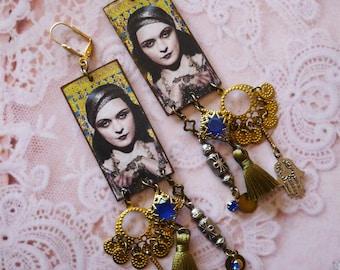 Boucles d'Oreilles bohèmes cuivre Hippie Gipsy, Bijoux ethniques esprit roulotte, Style gitane, look vintage, tsigane, folk, nomade,