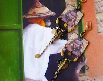 Boucles d'oreilles tribales Africaine, Bijoux afro bohème, portrait d'Afrique, style nomade, Perles corne, Cauris, Fujigirls