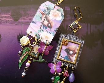 """Boucles d'oreilles poétiques exo-vintage """"Les oiseaux"""", bijoux bohèmes nature, pendentif artisanal, style japonisant, floral, bucolique"""