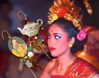 Boucles d'oreilles Chinoises asymétriques, Pendentifs fait-main, portrait Chinois, Look vintage, Chine antique, Nacre, éventail, Fujigirls