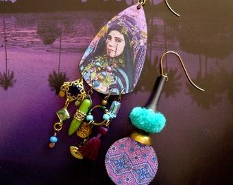 Boucles d'oreilles ethniques portrait kabyle, Bijoux nomade Algerien, pendentif artisanal cuivre, style tribal oriental, talisman, Fujigirls