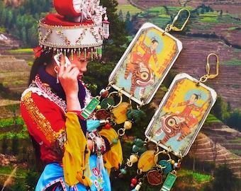 Boucles d'oreilles de style vintage Japonaises, Bijoux Asiatique, Pendentif artisanal, culture nippon, chien de fö, Japon, Fujigirls