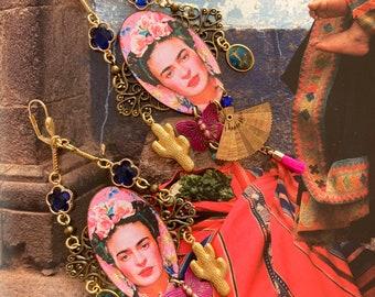 Boucles d'oreilles Mexicaines Frida Kahlo, Style bohème ethnique chic, bijoux Viva la vida, Folklorique, cactus, pompon, éventail, hippie