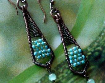 Boucles d'Oreilles Ethniques Perles Miyuki, Bijoux Originaux en Cuivre, Pendentifs Fait-Main, Bijoux de Créateur, Fujigirls