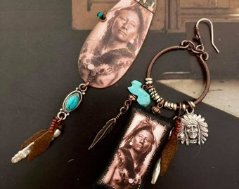Boucles d'oreilles asymétriques Amérindiennes, bijoux Amérindien, pendentifs fait-main cuivre, perles de culture, turquoise, argent