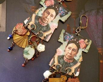 Boucles d'oreilles ethniques Chinoises de style vintage, kimono de style vintage, portrait Chine antique, breloques asiatiques, Fujigirls