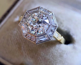 """The French Cut Diamond """"Jolie"""" Style Halo Ring  by CvB"""