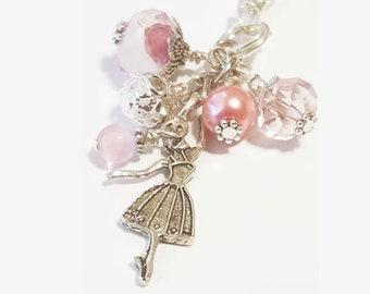 Pink Ballerina Purse Dangle / Zipper Pull Charm