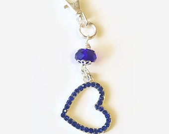 Dark Blue Rhinestone Heart Purse Dangle / Zipper Pull Charm