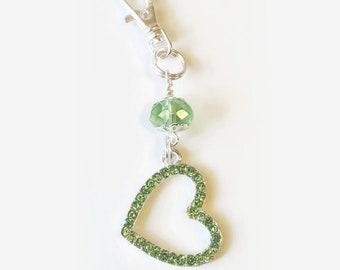 Light Green Rhinestone Heart Purse Dangle / Zipper Pull Charm