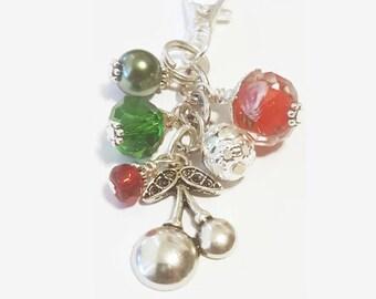 Red Cherry Purse Dangle / Zipper Pull Charm