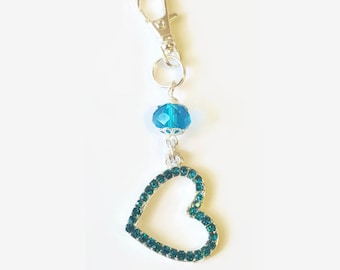 Turquoise Rhinestone Heart Purse Dangle / Zipper Pull Charm