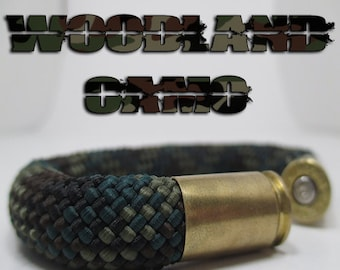 Woodland Camouflage Military and Second Amendment Right to Bear Arms Bullet Casing Support Bracelet
