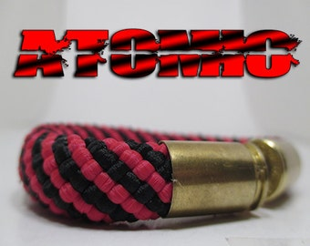 Black & Red Striped Military and Second Amendment Right to Bear Arms Bullet Casing Support Bracelet