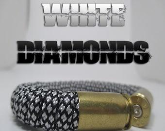 White Diamonds Military and Second Amendment Paracord Bullet Bracelet