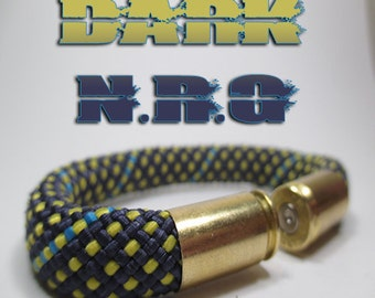 Dark Blue & Yellow Military and Second Amendment Right to Bear Arms Bullet Casing Support Bracelet