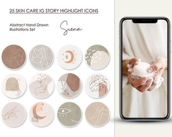 25 SKIN CARE Abstract Hand Drawn Illustrated Instagram Story Highlight Icons, Insta Boho Gentle Kit, IG Social Media Set, Digital Delivery
