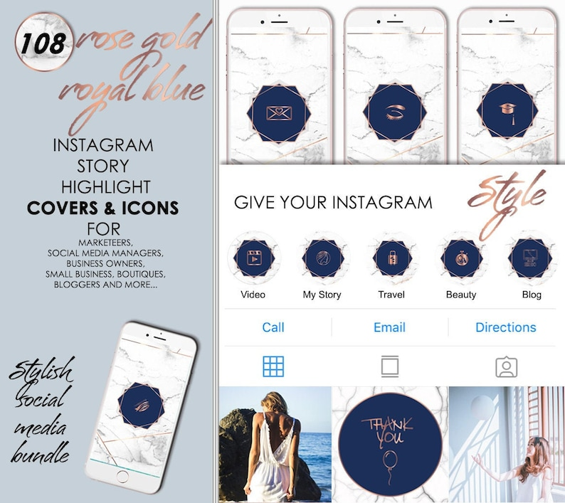 108 Instagram & Facebook Story Covers, Blogger Beauty Icons, IG Highlights,  Social Media Rose Gold Marble Royal Blue Set, Digital Download