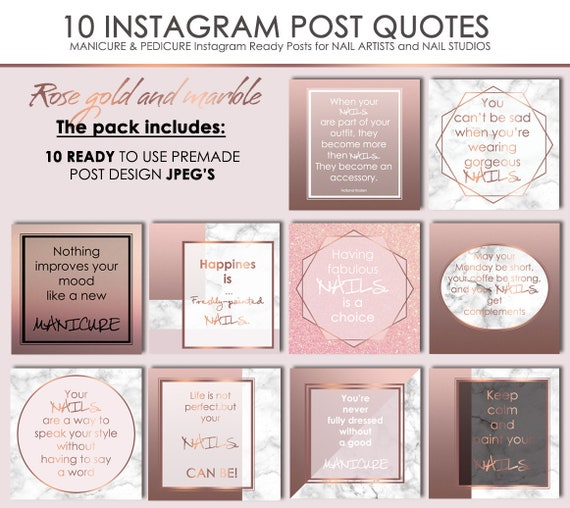 10 Nail Ready JPGs Instagram & Facebook #101, Insta Quotes, Manicure  Pedicure IG Posts, Social Media Rose Gold Marble Kit, Digital Download