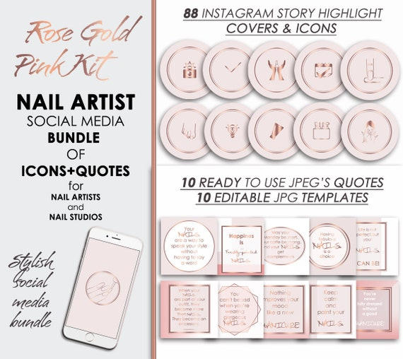 Nail Instagram & Facebook Story Covers and Quotes, Insta Manicure Pedicure  Icons, IG Highlights Social Media Rose Gold Pink Digital Download