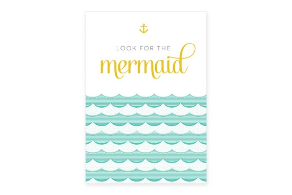 SALE // 50% OFF // Look for the mermaid // A3 poster // kids room decoration // fairytale