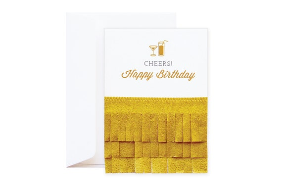 Cheers Happy Birthday Wishing Card // playful gold card with fringe // features ruffles in tissue paper // glam gift for friends