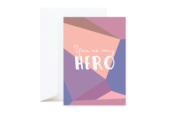Wishing Card: You're my hero (including envelope) // Graphic postcard with purple & powder pink colours // Mineral collection