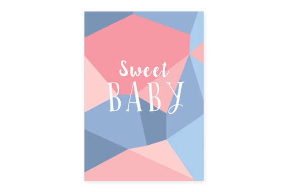 Sweet Baby poster | A3 print | Unframed | Nursery Interior design | Geometric wall art | Baby Gift