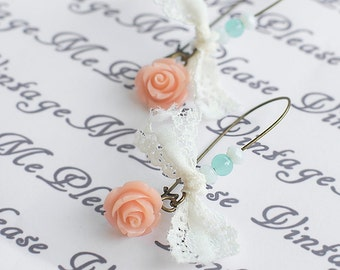 Flower Earrings, Bridesmaid Earrings, Shabby Chic Earrings, Flower Girl Earrings, Flower Girl Gifts, Bridesmaids Gifts, Wedding Gifts, Gift