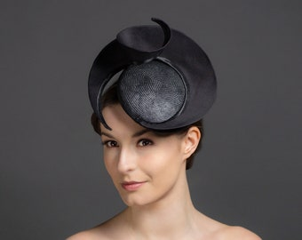 Black hat, black hatinator, show-stopping black headpiece. Unique contemporary design Ascot hat, Kentucky Derby hat or wedding hat.