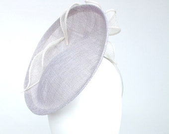 Ascot hat wedding hat, unique hatinator in Grey and ivory. Fascinator ideal for mother of the bride hat or hat for races