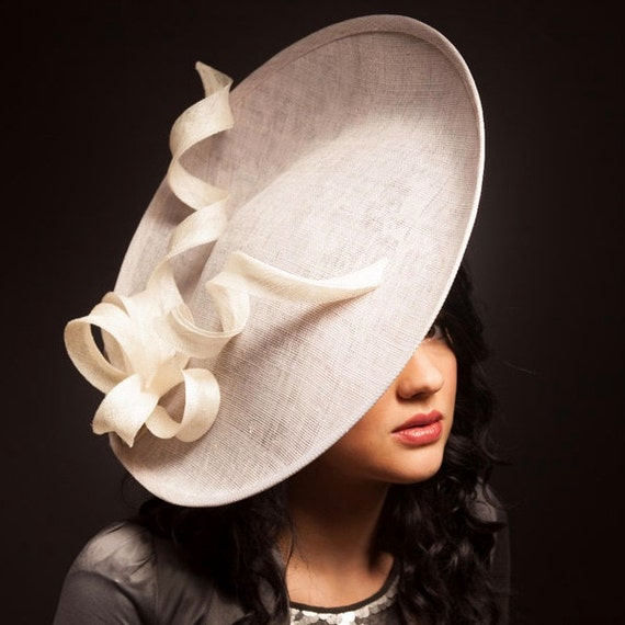 Grey and ivory saucer hat  fascinator  hatinator with ivory bow  ddbf65aa697