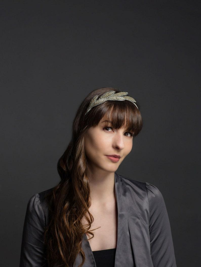 Bridal headpiece beaded bridal headband. Brides hair image 0