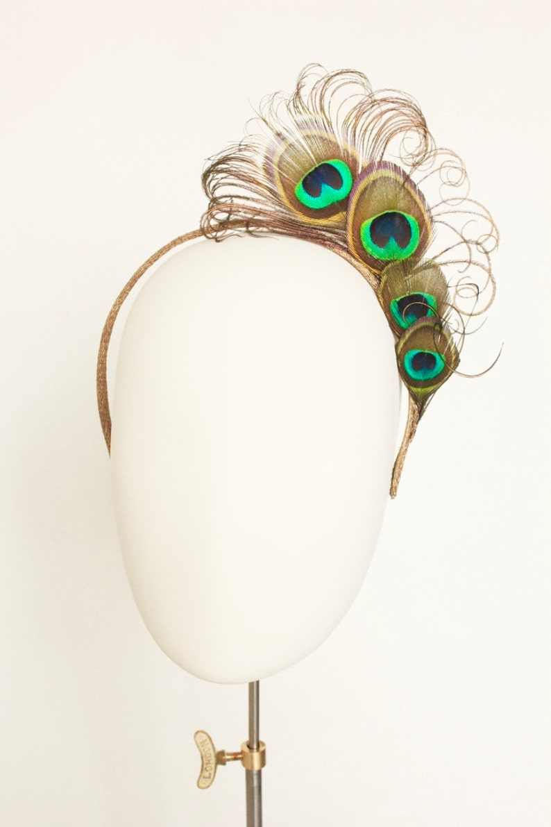 Peacock feather headband fascinator headdress. Green blue gold image 0