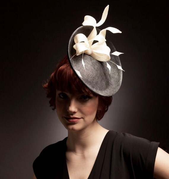 Black white saucer hat  fascinator  headpiece with ivory bow  61c460cec76