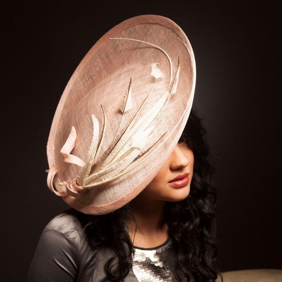 Dusty pink and ivory saucer hat fascinator hatinator with  90a7abfaa5a