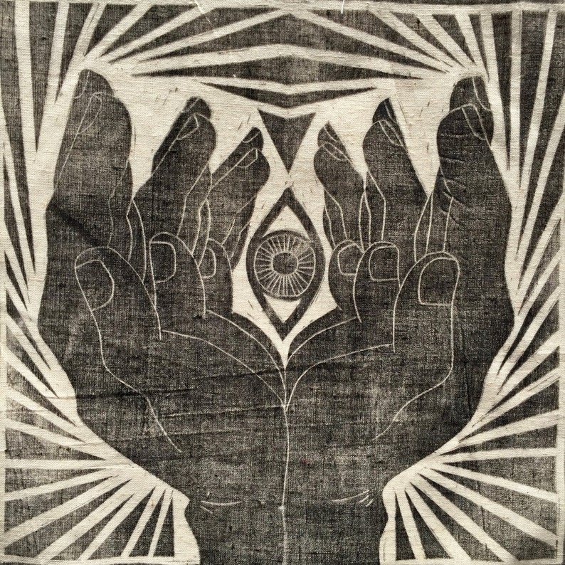 Hand and Eye Lino Print Patch Handprinted image 0